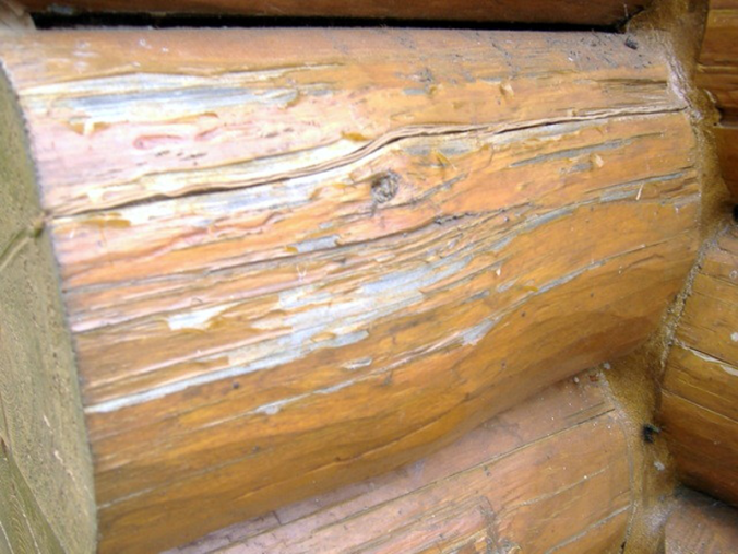 faded stain on log home