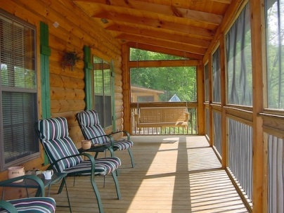 screened in log cabin porch