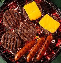 Burgers, hotdogs on grill