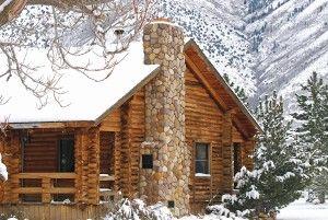 Log home, log cabin in winter