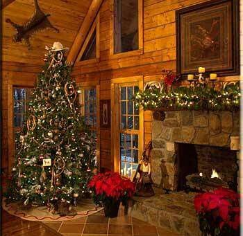 interior photo of log home at Christmas