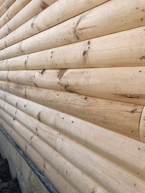 stain new log home